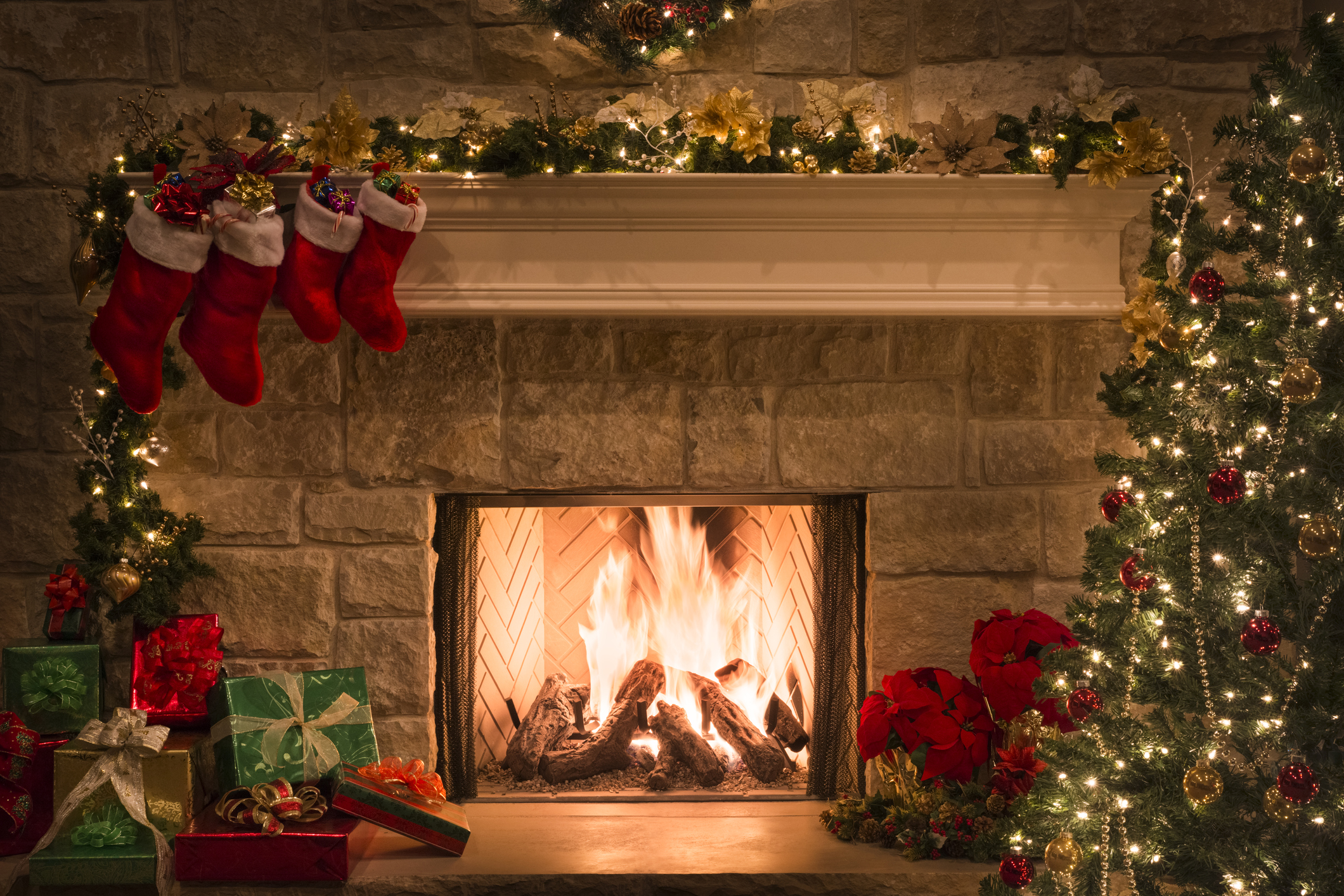 Christmas fireplace stockings ts tree copy space